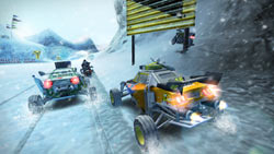 Racing on a snow covered track in 'MotorStorm: Arctic Edge'