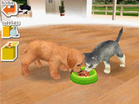 Your lab sharing a meal with a friend in Nintendogs Lab & Friends