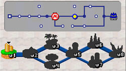 Map of the game worlds to visit displayed on the lower DS screen in New Super Mario Bros. for DS