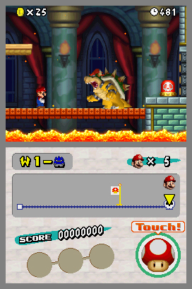 Bowser in an underworld boss battle New Super Mario Bros. for DS