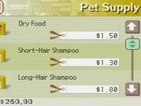 Pet supply screen in Nintendogs Dalmatian & Friends