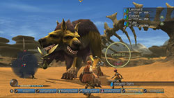 Battle system in action against a huge Cerberus like enemy in White Knight Chronicles International Edition