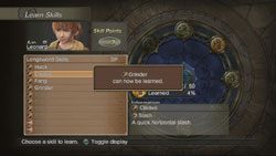 Screen showing skills inventory in White Knight Chronicles International Edition