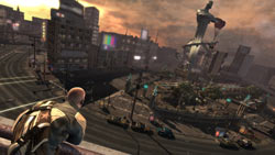 Cole overlooking an expansive urban environment in 'inFAMOUS'