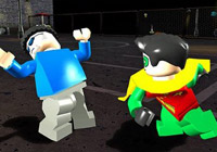 Robin punching a thug in 'LEGO Batman the Game'