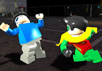 Robin punching a bad guy in 'LEGO Batman the Game'