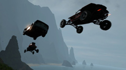 Catching some air over sea cliffs in 'Motorstorm Pacific Rift'