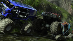 Monster truck class vehicle in 'Motorstorm Pacific Rift'