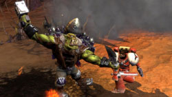 One on one battle with Ork boss in 'Warhammer 40,000: Dawn of War II'