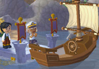 boarding a boat in ''MySims Kingdom''