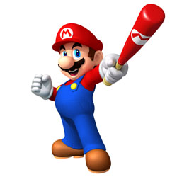 Mario swinging a bat in 'Mario Super Sluggers'
