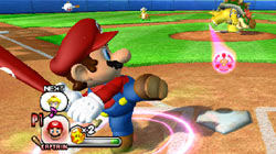 Mario swings at a pitch from Bowser in 'Mario Super Sluggers'