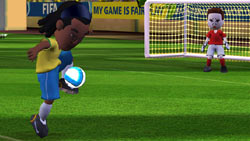Ronaldinho in Mii form in front of goalkeeper in 'FIFA Soccer 09 All-Play'