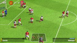 Shot on goal in front of the box in 'FIFA Soccer 09' for PSP