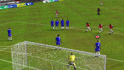 A defensive set piece in front of the goal in 'FIFA Soccer 09' for DS