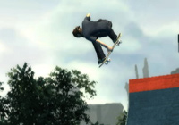 Catching some ait over a ramp in 'Skate It' for Wii