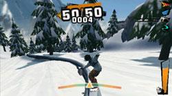 Sliding down rails in 'Shaun White Snowboarding'