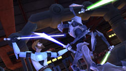 Obi-wan vs, General Grevious in 'Star Wars The Clone Wars: Lightsaber Duels'