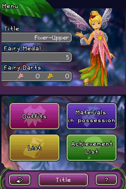 Character stats and status screen from Disney Fairies: Tinker Bell