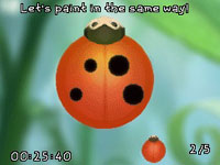 Lady bug painting mini-game in Disney Fairies: Tinker Bell