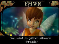 Making friends with in-game character Fawn in Disney Fairies: Tinker Bell