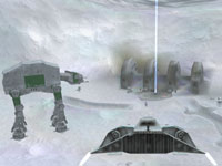 Protecting the Hoth generator from an imperial walker in Star Wars Battlefront: Elite Squadron for PSP