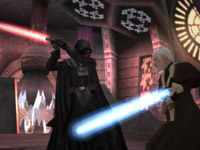 Vader in action in the Heroes and Villains Mode in Star Wars Battlefront: Elite Squadron for PSP