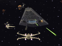 X-wing fighters attacking and Imperial battle cruiser in Star Wars Battlefront: Elite Squadron for PSP