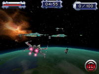 X-Wing fighter combat in Star Wars Battlefront: Elite Squadron for DS and DSi