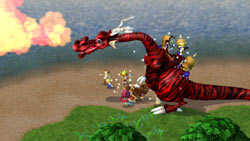 Fighting a dragon in 'Little King's Story'