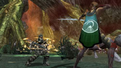 Heroine battling a dwarf in 'Guild Wars'