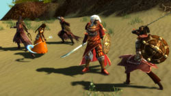a two on three battle in the desert in 'Guild Wars Nightfall'