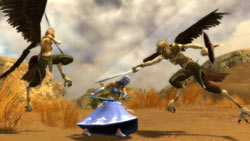 Battling 2 skree Talon in 'Guild Wars Nightfall'