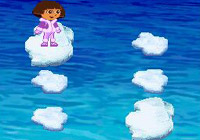 Dora jumping from iceberg to iceberg in 'Dora the Explorer: Dora Saves the Snow Princess' for DS