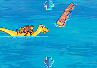 Navigating the game while riding a dinosaur in 'Go Diego Go: Great Dinosaur Rescue' for DS