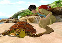 Freeing a sea turtle from a fishing net in 'Petz Rescue Wildlife Vet'