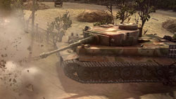 Nazi Tiger tank doing damage up close in 'Company of Heroes: Tales of Valor'
