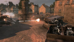 Mobile British machine gunners battling a tank in 'Company of Heroes: Tales of Valor'