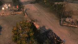 Tiger tanks taking on en etrenched postion from a distance in 'Company of Heroes: Tales of Valor'