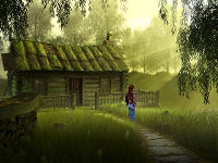 Nina in an outdoor game environment featuring weather effects in Secret Files: Tunguska