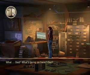 Nina searching an office environment in Secret Files: Tunguska for Wii