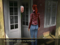 Nina talking to a non-player character in Secret Files: Tunguska for Wii
