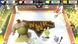 Rabbids wrestling in ' Rayman Raving Rabbids TV Party'