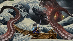 Battling a giant octopus in 'Muramasa: The Demon Blade'
