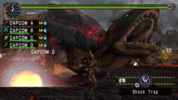 Multiplayer combat in 'Monster Hunter Freedom Unite'