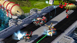 Large-scale, multi-unit battle in 'Command & Conquer: Red Alert 3 Ultimate Edition'