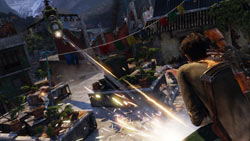 Drake taking fire from a helicopter in 'Uncharted 2: Among Thieves'