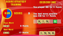 Score and strategy training excercises in 'SCRABBLE'