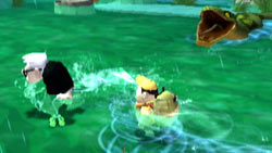 Carl and Russell swimming from an anaconda in 'UP' The Video Game