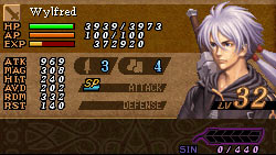 Wylfred's stats in 'Valkyrie Profile: Covenant of the Plume'